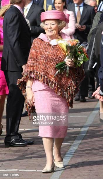 Queen Beatrix Of Holland During The Queens Day Celebration In Makkum