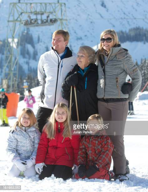 Queen Beatrix of Holland with Crown Prince Willem Alexander, and Crown Princess Maxima of Holland, and thier children, Princess Catharina Amalia,...