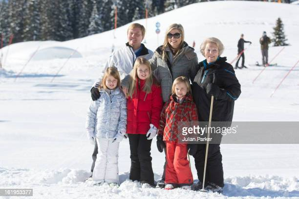 Queen Beatrix of Holland with her son, Crown Prince Willem Alexander, and Crown Princess Maxima of Holland, and thier children, Princess Catharina...