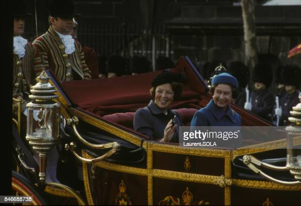 Queen Beatrix of Netherlands and Queen Elizabeth II during official visit in London on November 16 1982 in London United Kingdom