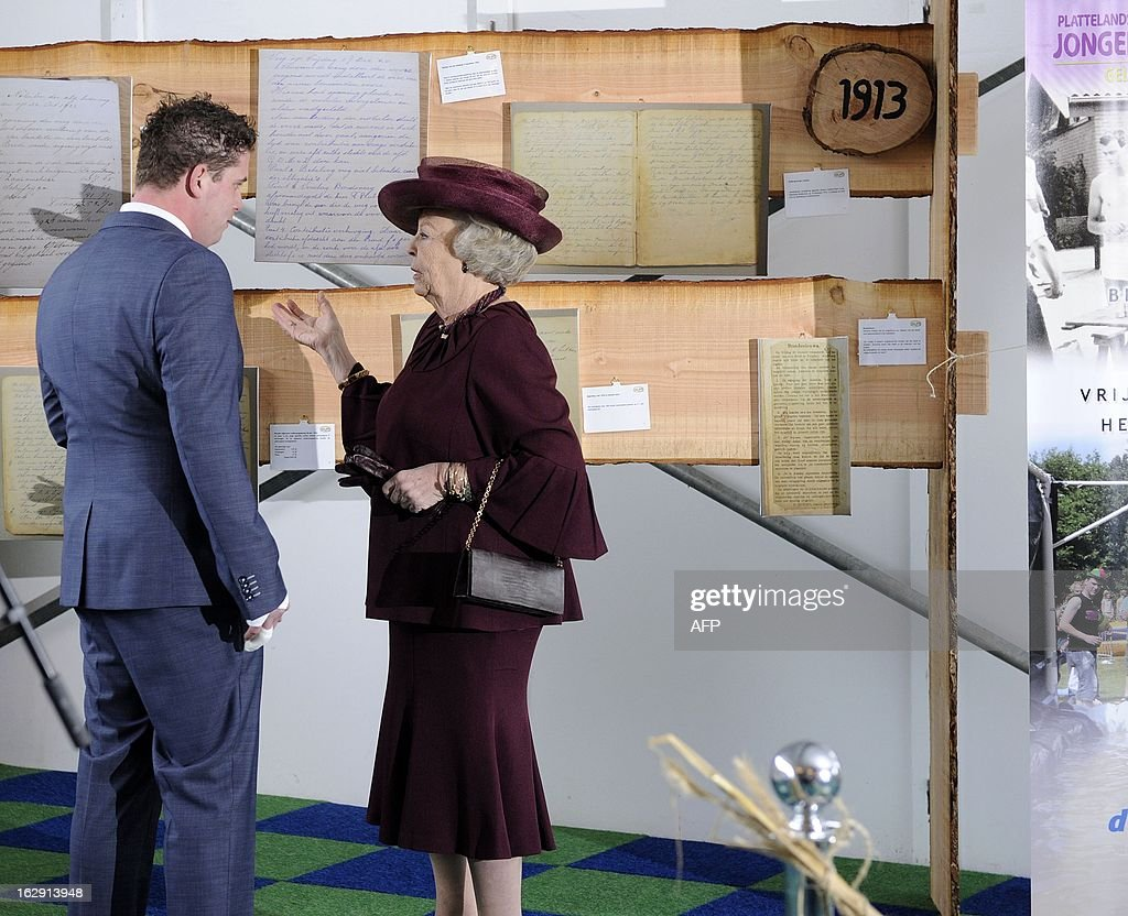 Queen Beatrix of Netherlands visits the Rural Youth Union Gelderland in Tolbeek, on March 1, 2013, to mark the one century anniversary of the union. ANP / netherlands out