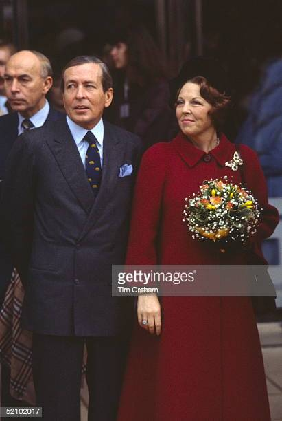 Queen Beatrix Of Netherlands With Her Husband Prince Claus During A Visit To Peterborough
