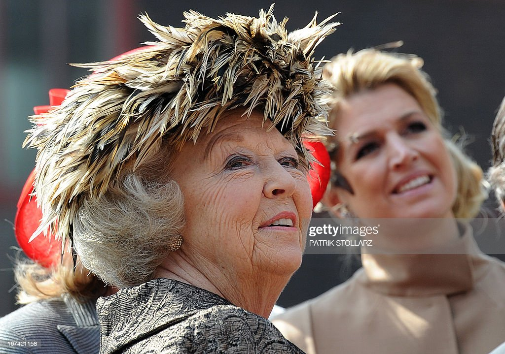 Queen Beatrix of the Netherlands (L) and Dutch Crown Princess Maxima visit the Kokery Zeche Zollverein (coal mine) in Essen, western Germany, on April 15, 2011 by the state premier of North-Rhine Westphalia, Hannelore Kraft (R). The Dutch Royal Family is on a four-day-visit to Germany.