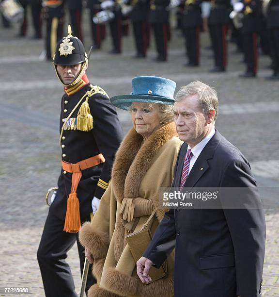 Queen Beatrix of the Netherlands and German President Horst Koehler inspect the guards of honour at Noordeinde Palace on October 8, 2007 in The...