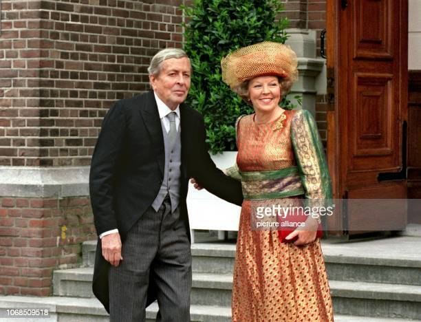 Queen Beatrix of the Netherlands and her husband Prince Claus shortly before Church Wedding of Prince Maurits and Marilene van den Broek pictured on...