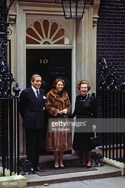 Queen Beatrix Of The Netherlands And Prince Claus With Margaret Thatcher Conservative Prime Minister At 10 Downing Street