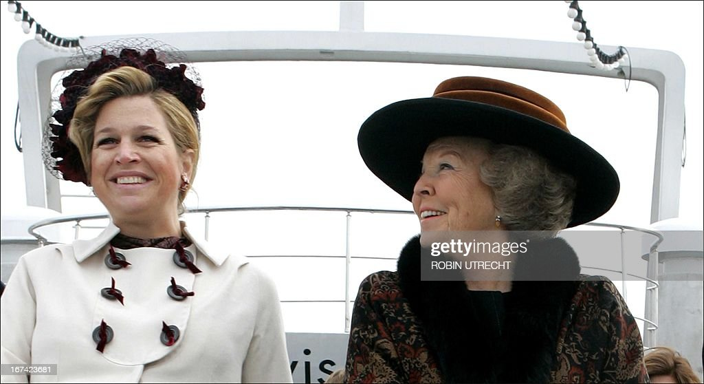 Queen Beatrix of the Netherlands (R) and princess Maxima share a smile as they make a boat trip on the Bosporus on the 3rd day of the state visit, 01 March 2007. Queen Beatrix arrived in Turkey Tuesday accompanied by Crown Prince Willem-Alexander and Princess Maxima as well as a large delegation of officials and businessmen. UTRECHT
