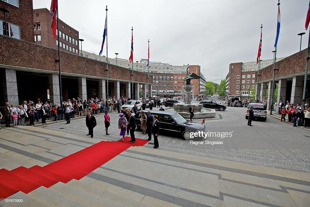 Queen Beatrix of the Netherlands arrives at Oslo City Hall on June 2, 2010 in Oslo, Norway.