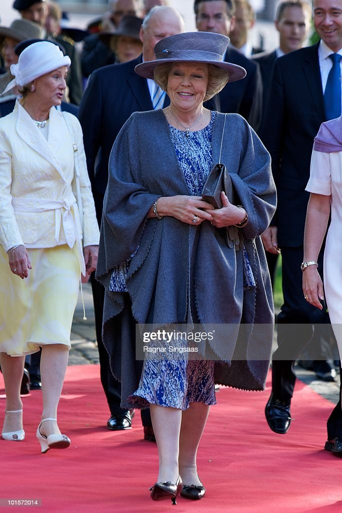 Queen Beatrix of the Netherlands arrives at the Oslo Stock Exchange on June 2, 2010 in Oslo, Norway.
