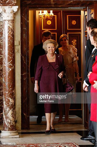 Queen Beatrix of the Netherlands arrives for the Act of Abdication ceremony in the Moseszaal at the Royal Palace on April 30 2013 in Amsterdam Queen...