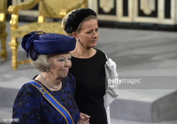 Queen Beatrix of The Netherlands arrives for the inauguration ceremony of HM King Willem Alexander of the Netherlands and HM Queen Maxima of the...