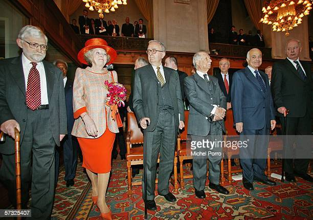 Queen Beatrix of the Netherlands arrives to attend to celebrations marking the 60th anniversary of the International Court of Justice April 12 2006...