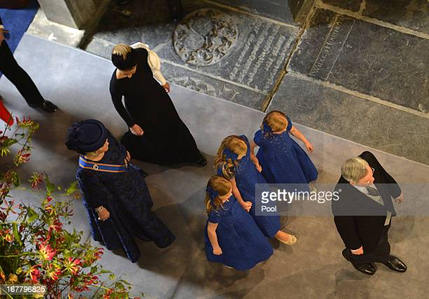 Queen Beatrix of The Netherlands arrives with her granddaughters Princess Alexia Princess Catharina Amalia and Princess Ariane during the...