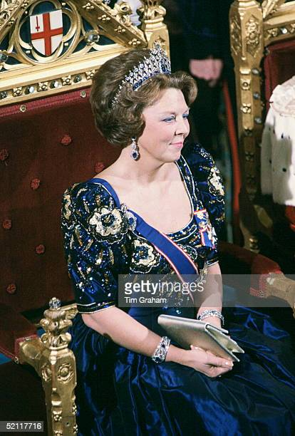 Queen Beatrix Of The Netherlands At The Guildhall In London