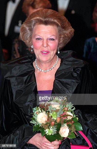 Queen Beatrix of The Netherlands attends a Ballet performance at The Muziek Theater in Amsterdam as part of her 60th Birthday Celebrations on January...