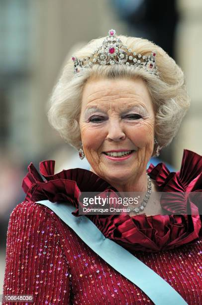 Queen Beatrix of the Netherlands attends the wedding of Crown Princess Victoria of Sweden and Daniel Westling on June 19, 2010 in Stockholm, Sweden.