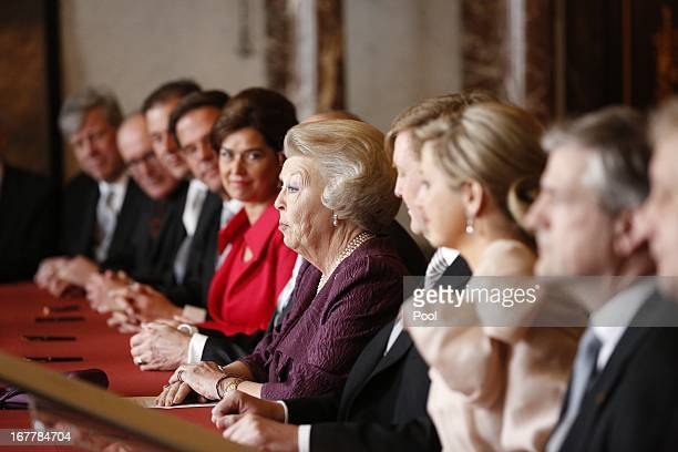 Queen Beatrix of the Netherlands delivers a speech after the signing of the Act of Abdication during a ceremony in the Moseszaal at the Royal Palace...