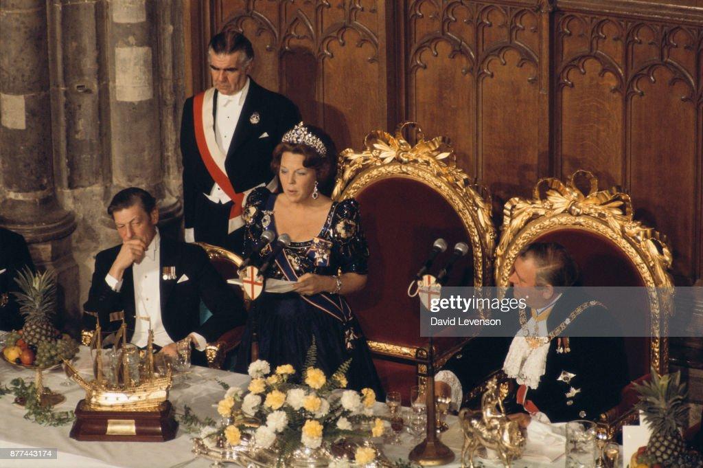 Queen Beatrix Delivering Speech in London : News Photo