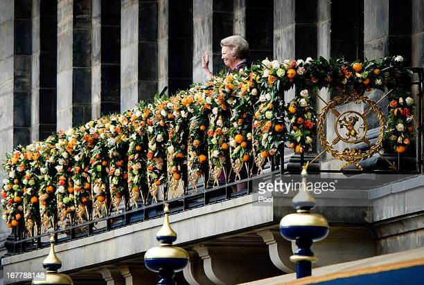 Queen Beatrix of the Netherlands gives a short address on the balcony of the Royal Palace to greet the public after the abdication of Queen Beatrix...