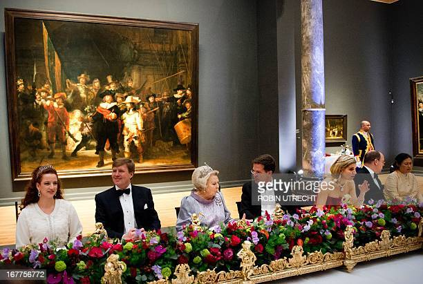 Queen Beatrix of the Netherlands hosts a dinner on April 29 2013 at the National Museum in Amsterdam attended by Princess Lalla Salma of Morocco...