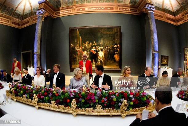 Queen Beatrix of the Netherlands hosts a dinner on April 29 2013 at the National Museum in Amsterdam attended by Thailand's Crown Prince...