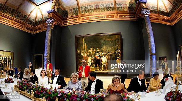 Queen Beatrix of the Netherlands hosts a dinner on April 29 2013 at the National Museum in Amsterdam attended by Brunei's Crown Princess Sarah and...