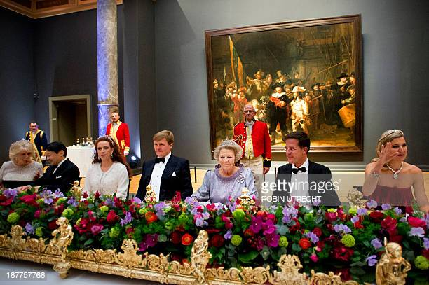 Queen Beatrix of the Netherlands hosts a dinner on April 29 2013 at the National Museum in Amsterdam attended by Camilla Duchess of Cornwall Japan's...