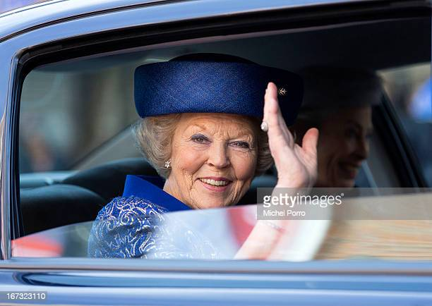 Queen Beatrix of The Netherlands leaves after opening Huygens Exhibition in her last official engagement before her abdication on April 24, 2013 in...