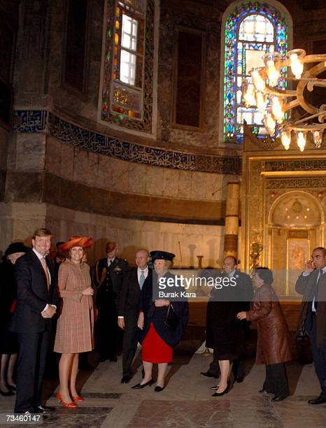 Queen Beatrix of the Netherlands Prince WillemAlexander of the Netherlands and Princess Maxima of the Netherlands visit the sixth century Byzantinian...