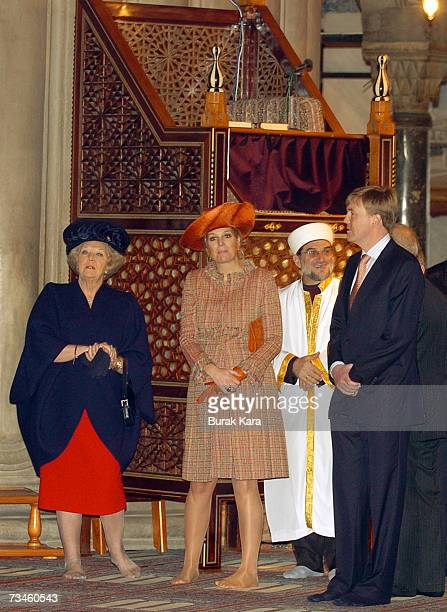 Queen Beatrix of the Netherlands Prince WillemAlexander of the Netherlands and Princess Maxima of the Netherlands visit the Blue Mosque in Istanbul...