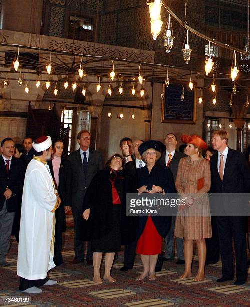 Queen Beatrix of the Netherlands PrinceWillem Alexander of the Netherlands and Princess Maxima of the Netherlands visit the Blue Mosque on March 1...
