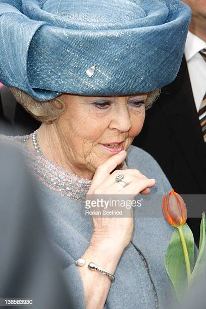 Queen Beatrix of the Netherlands tours the historic city center on April 14, 2011 in Dresden, Germany. The Dutch royals are on a four-day visit to...