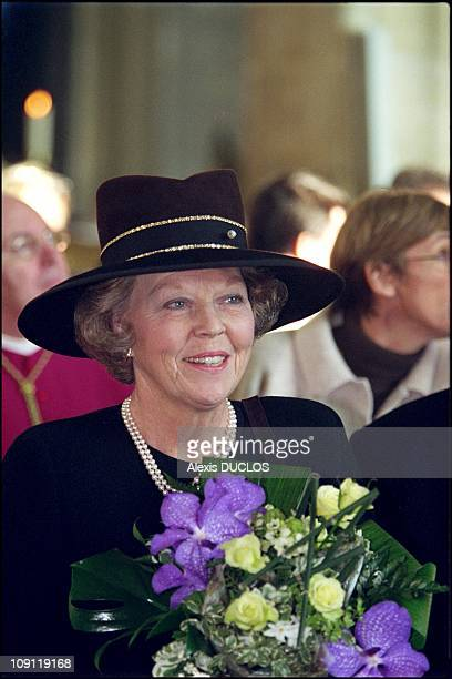 Queen Beatrix Of The Netherlands Unveils New Strained Glass Windows At Blois Cathedral On December 22Th 2000 In Blois France Queen Beatrix