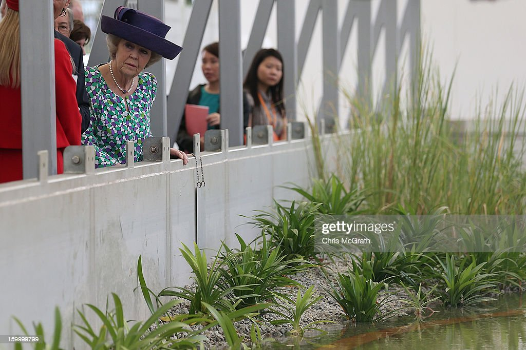 Queen Beatrix of the Netherlands views a research station during her tour of the Van Kleef Centre, which houses the NUS Aquatic Science centre on January 25, 2013 in Singapore, Singapore. Queen Beatrix is on a three day state visit to Singapore.