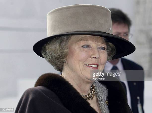 Queen Beatrix of the Netherlands visits German Chancellor Gerhard Schroeder March 3 2004 in Berlin Germany Queen Beatrix is on a twoday visit to...