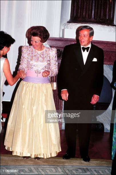 Queen Beatrix of the Netherlands visits Germany in Germany on April 25 1991Queen Beatrix and Prince Claus