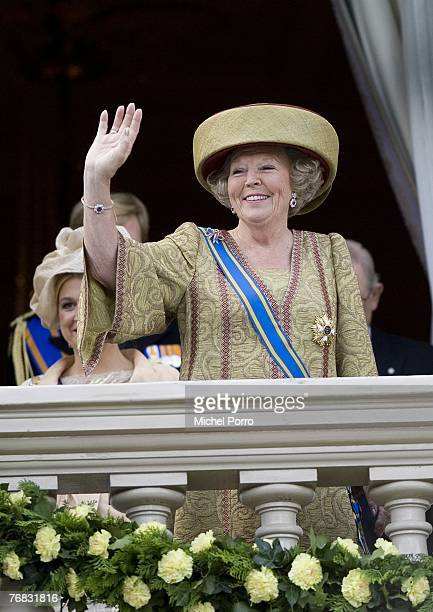 Queen Beatrix Of The Netherlands waves from the Noordeinde Palace balcony during Prince's Day celebrations at The Hague on September 18 2007 in The...