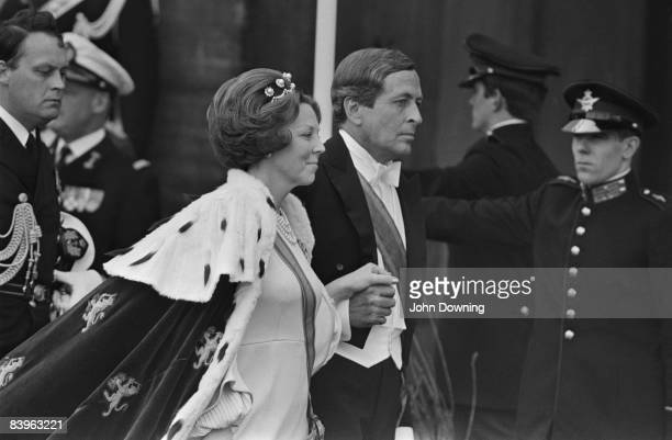 Queen Beatrix of the Netherlands with her husband, Claus von Amsberg on the day of her investiture, Amsterdam, 30th April 1980.