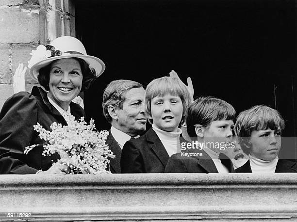 Queen Beatrix of the Netherlands with her husband Prince Claus and their sons Prince WillemAlexander Prince Constantijn and Prince Johan Friso in...