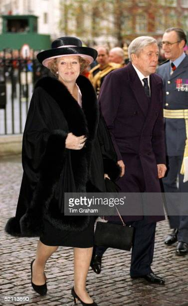 Queen Beatrix Of The Netherlands With Husband Prince Claus At Westminster Abbey For Service To Mark British Monarch's Golden Wedding Anniversary