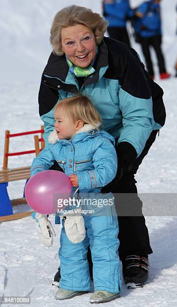 Queen Beatrix plays with Princess Ariane at the start of annual Austrian skiing holiday of the Dutch Royal family at the ski resort of Lech am Alberg...