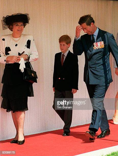 Queen Beatrix Prince Harry Prince Charles Arrive At The Heads Of State Ceremony In Hyde Park London