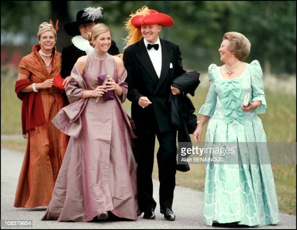 Queen Beatrix with her son Prince Willem Alexander and girlfriend in Sweden on June 18 2001
