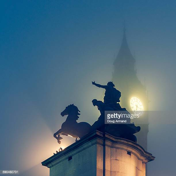 queen bodicea statue and big ben in fog, london - statue stock pictures, royalty-free photos & images