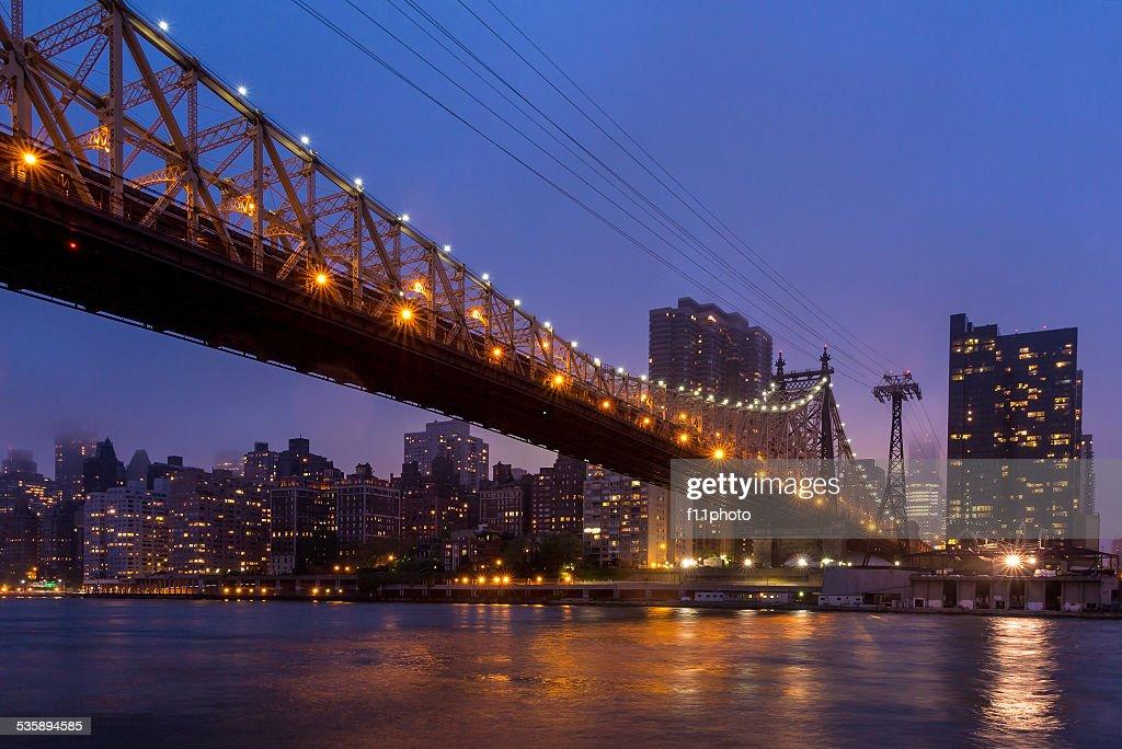 Queen Bridge, New York skyline : Stock Photo
