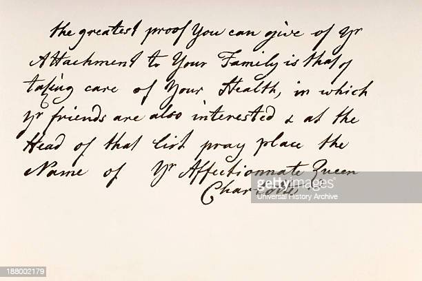 Queen Charlotte Nee Duchess Sophia Charlotte Of MecklenburgStrelitz 1744 To 1818 Queen Consort Of George Iii Of The United Kingdom Hand Writing Sample