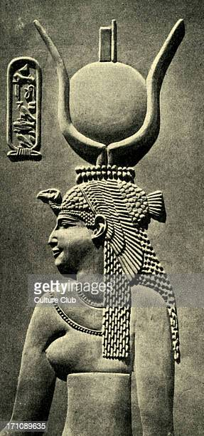 Queen Cleopatra wearing a sun headdress Relief in stone Cartouche 'Cleopatra' Cleopatra Egyptian pharaoh October 69 BCE 13 August 30 BCE