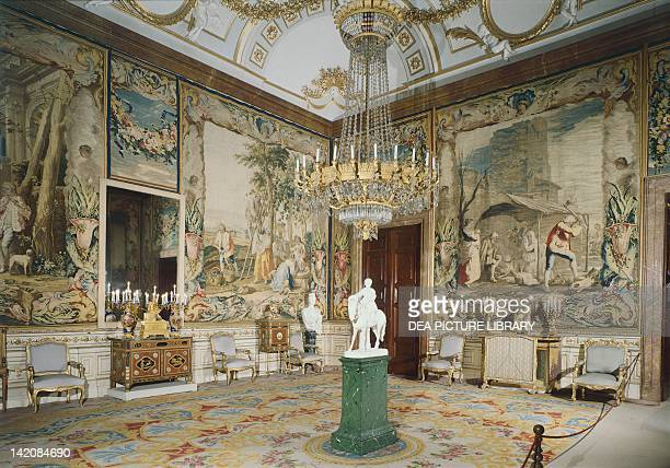 Queen Cristina's room in the Royal Palace of Madrid showing Four Seasons tapestries based on cartoons designed by Jacopo Amigoni Spain 18th century