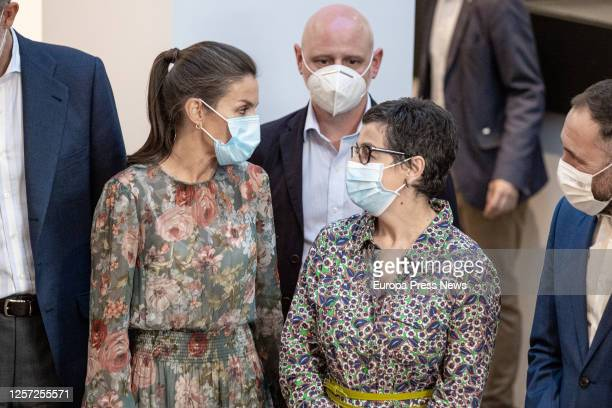 Queen Doña Letizia with the Minister of Foreign Affairs Arancha González Laya visit the Fundacion San Prudencio on July 17 2020 in VitoriaGasteiz...