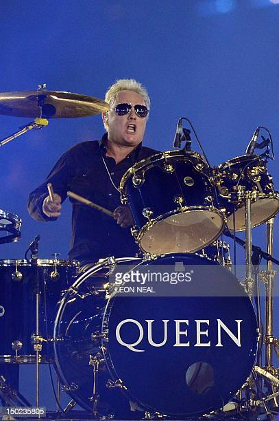 Queen drummer Roger Taylor performs at the Olympic stadium during the closing ceremony of the 2012 London Olympic Games in London on August 12 2012...